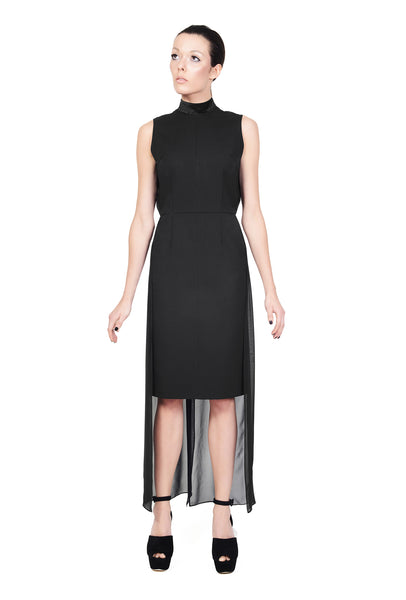 RUDYBOIS Fall Winter 2014 collection BLACK SLEEVELESS DRESS WITH TWO SILK TRAINS & SILK INSERT AT THE BACK