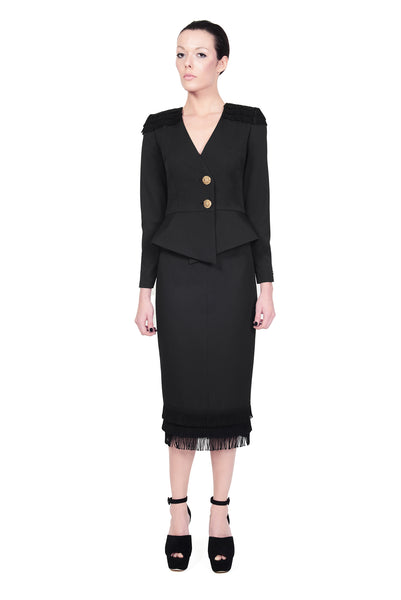 RUDYBOIS Fall Winter 2014 collection BLACK STRUCTURED BLAZER WITH FRINGES