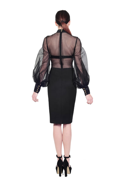 RUDYBOIS Fall Winter 2014 collection BLACK SILK PUFFED SLEEVES DRESS