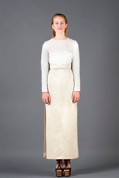 RUDYBOIS Spring Summer 2013 collection WHITE & OFF WHITE SILK LONG DRESS