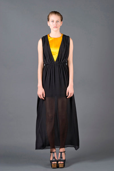 RUDYBOIS Spring Summer 2013 collection BLACK SILK LONG DRESS