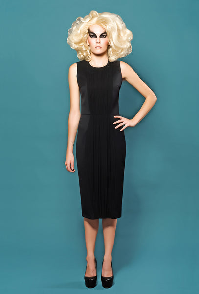 RUDYBOIS Spring Summer 2014 collection Cool Wool Sleeveless Dress & Front Black Silk Inserts
