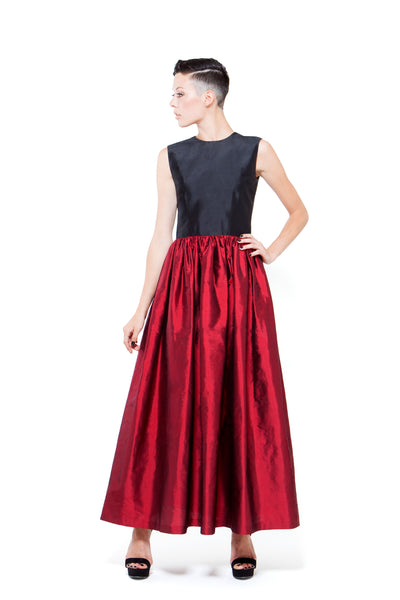 RUDYBOIS Spring Summer 2015 collection BLACK & DARK RED SILK LONG SLEEVELESS DRESS