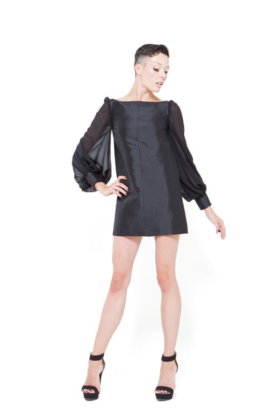 RUDYBOIS Spring Summer 2015 collection BLACK SILK & PUFFY SLEEVES SHORT DRESS