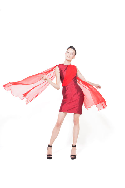 RUDYBOIS Spring Summer 2015 collection  DARK & BRIGHT RED SILK SHORT SLEEVELESS DRESS & TWO BACK TRAINS