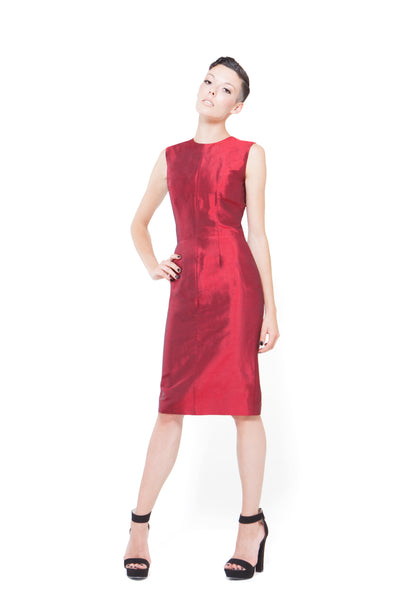 RUDYBOIS Spring Summer 2015 collection DARK RED SILK SHORT SLEEVELESS DRESS