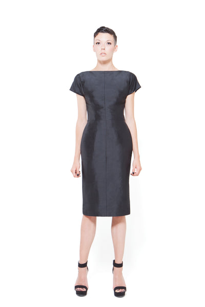 RUDYBOIS Spring Summer 2015 collection BLACK SILK & SHORT SLEEVES DRESS