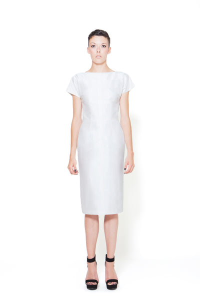 RUDYBOIS Spring Summer 2015 collection WHITE SILK & SHORT SLEEVES DRESS