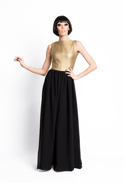 RUDYBOIS Fall Winter 2015 collection GOLD & BLACK LONG SLEEVELESS DRESS