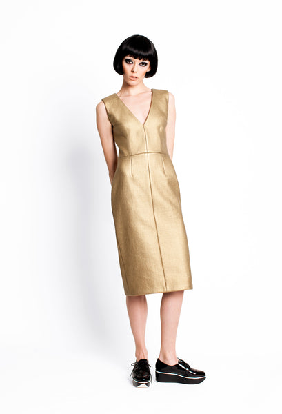 RUDYBOIS Fall Winter 2015 GOLD SLEEVELESS DRESS