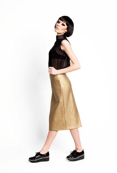 RUDYBOIS Fall Winter 2015 collection GOLD PENCIL SKIRT BLACK SILK BLOUSE