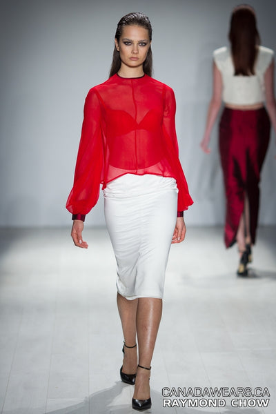 RUDYBOIS Spring Summer 2015 collection BRIGHT RED SILK & PUFFY SLEEVES BLOUSE