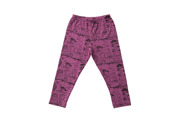 Pacific Northwest Folk Art Leggings - Purple