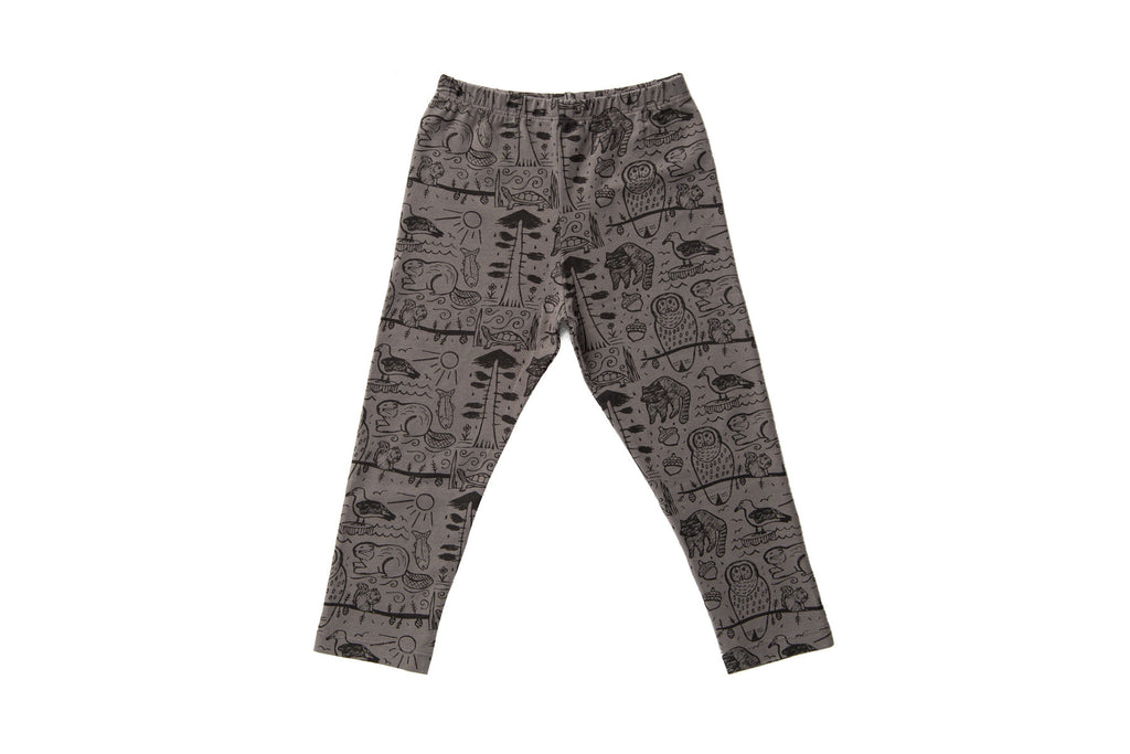 Pacific Northwest Folk Art Leggings - Grey