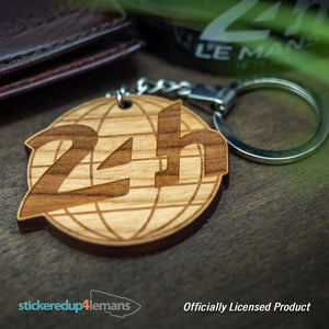 24h Le Mans Globe Keyring - Cherry Wood - Officially Licensed Le Mans Keyring - StickeredUp4LeMans
