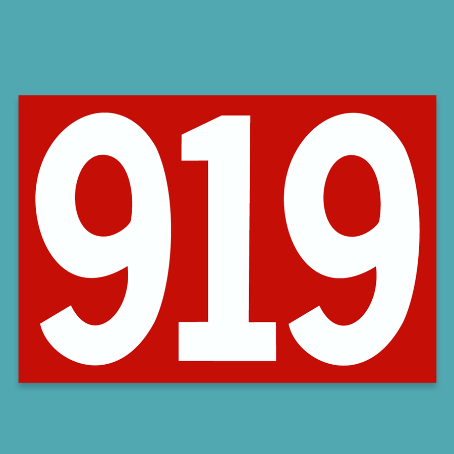 919 Number Sticker