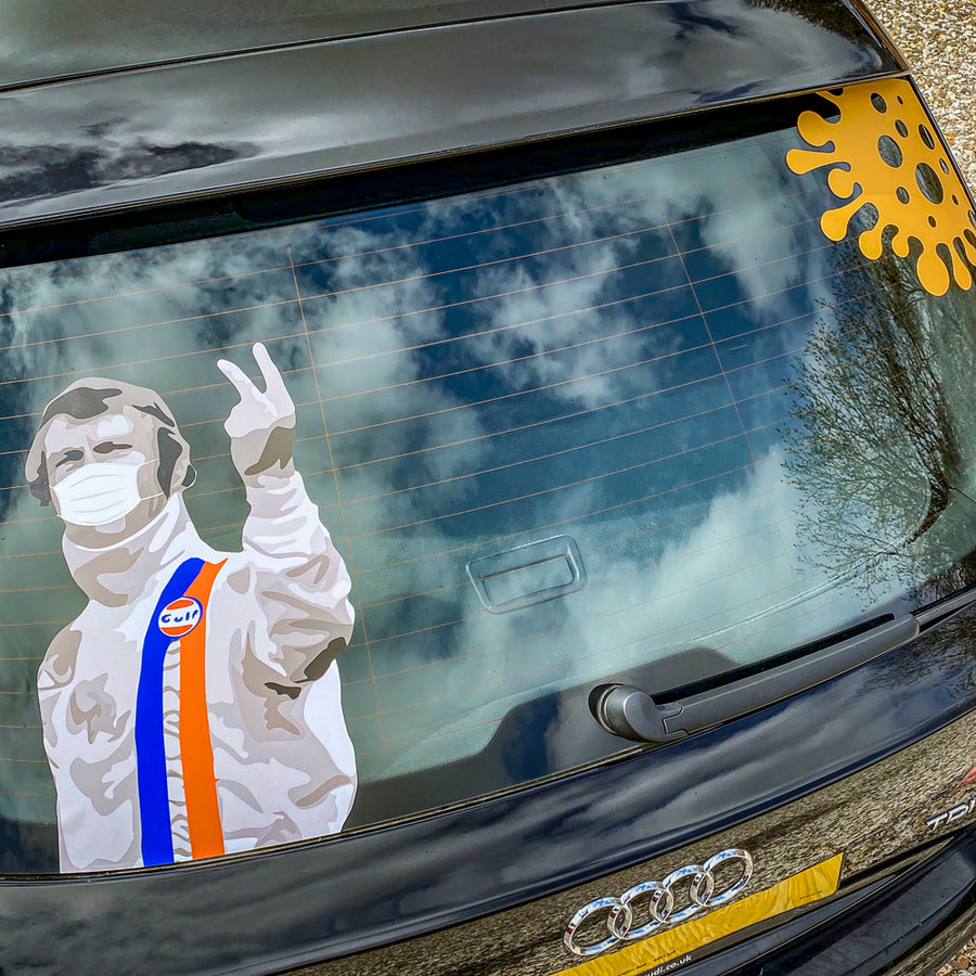 Masked Steve McQueen - Two Finger Salute to Coronavirus Sticker with Donation to NHS COVID-19 Appeal