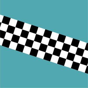 Chequered Stripe - Black on White