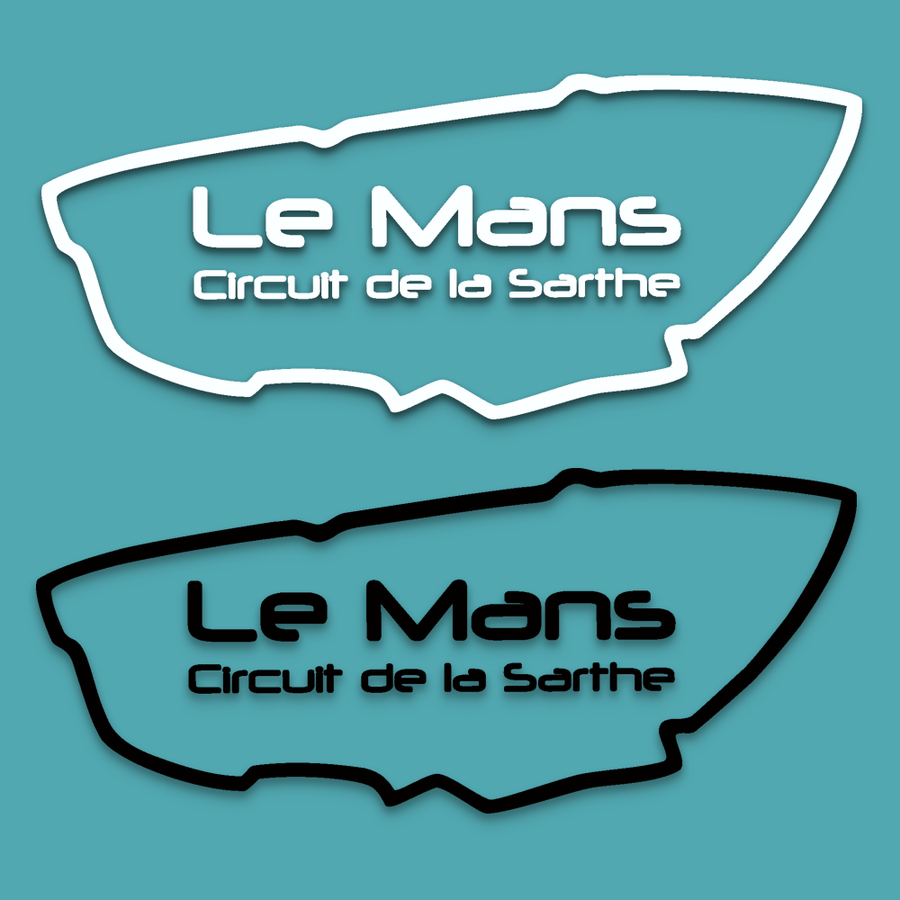 Small Le Mans Circuit with text sticker - Lima Mike Two Four - StickeredUp4LeMans