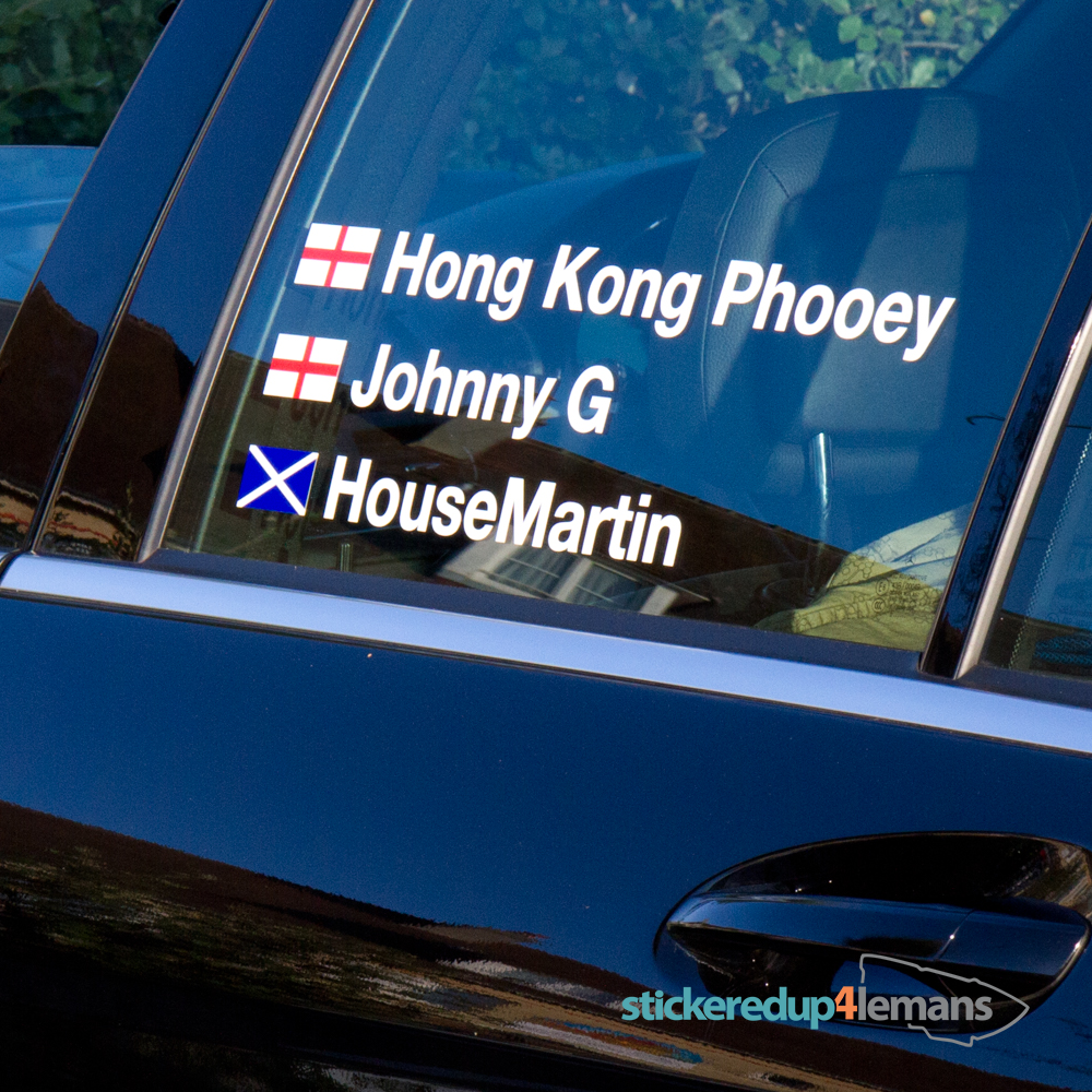 Racing driver name personalised race sticker with flag lima mike two four