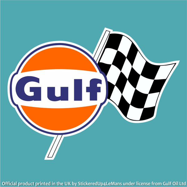 gulf chequered flag logo decal - stickeredup4lemans