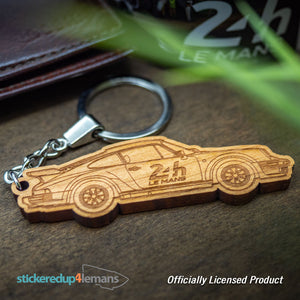 24h Le Mans Car Keyring - Cherry Wood (Design on both sides) - Officially Licensed Le Mans Keyring - StickeredUp4LeMans