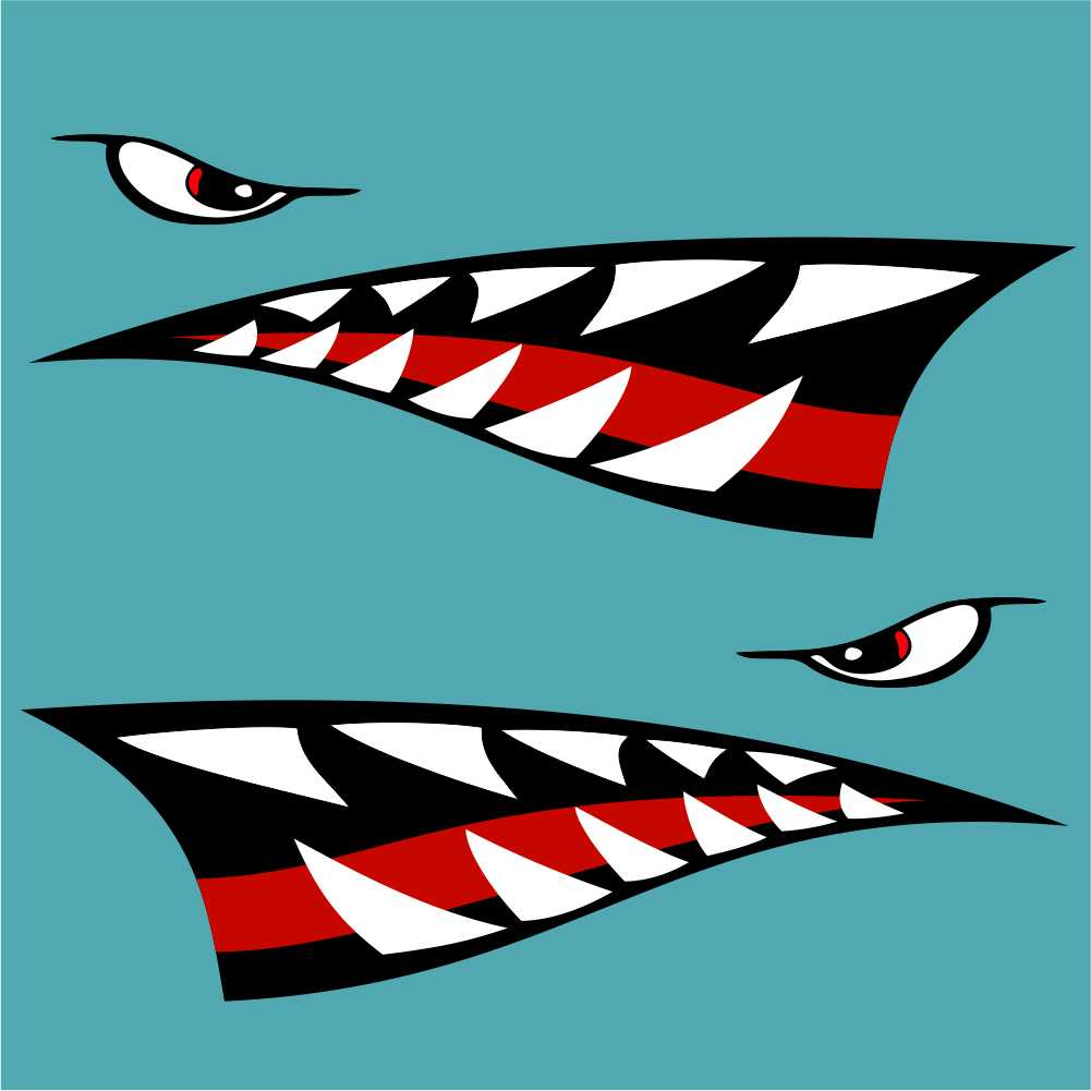 Large Shark Teeth Car Sticker Set