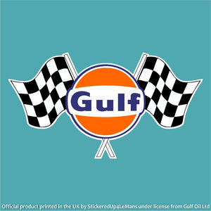 Gulf Twin Chequered Flag Logo Decal