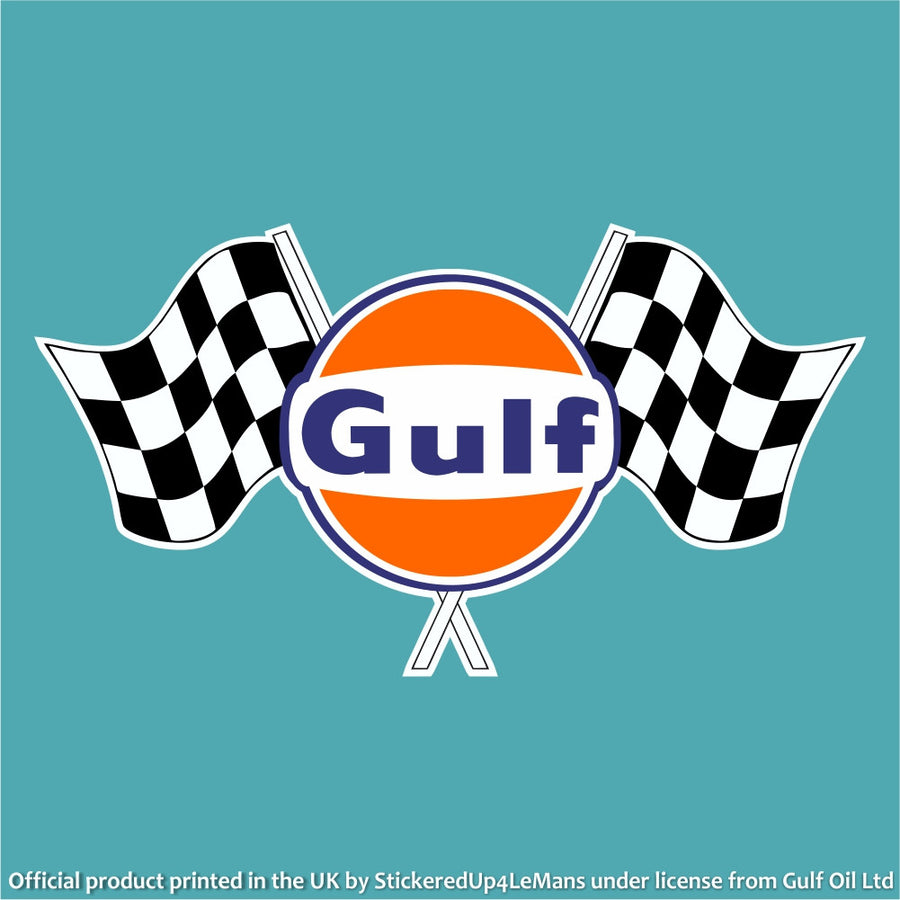 Gulf Twin Chequered Flag Logo Decal - Gulf - StickeredUp4LeMans
