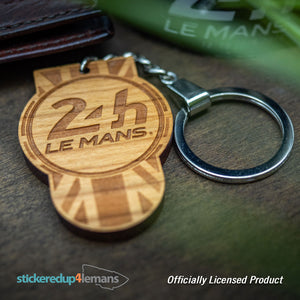 24h Le Mans Tab Keyring - Cherry Wood (Design on both sides) - Officially Licensed Le Mans Keyring - StickeredUp4LeMans