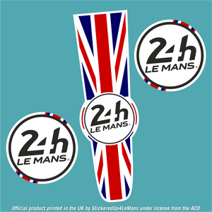Official Le Mans Flag Racing Bonnet Stripe with logo Sticker (matching door numbers available as an option) - Officially Licensed Le Mans Product - StickeredUp4LeMans