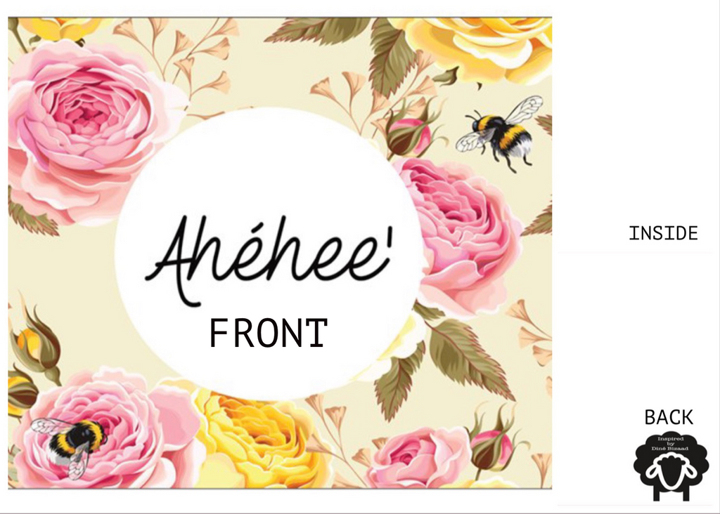 "Floral & Bee Note Card - 5.5"" x 4"""