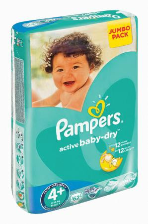 Pampers Active Baby Size 4 Maxi Plus 16kg+ Jumbo 62ea