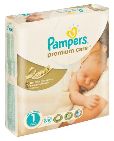 Pampers New Born Size 1 PremiumCare 2-5kg Value Pack 78ea