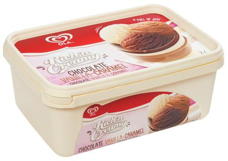 Ola Rich'n Cream Chocolate Vanilla Caramel Ice Cream 2 L