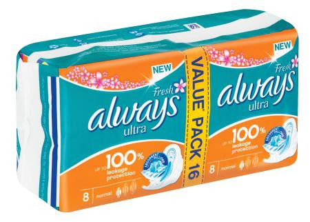 Always Ultra Sanitary Pads Regular 16