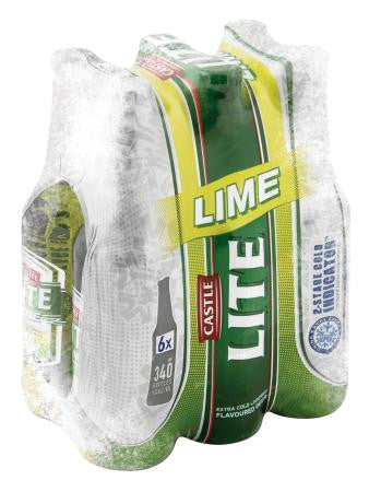 Castle Lite Can Lime 340ml x6