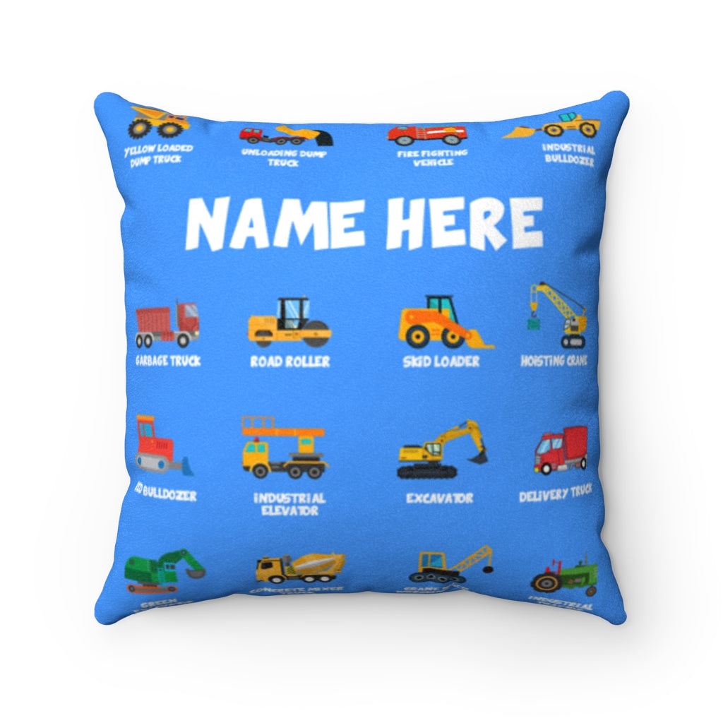 Personalized Name Construction Machines Boy Square Pillow