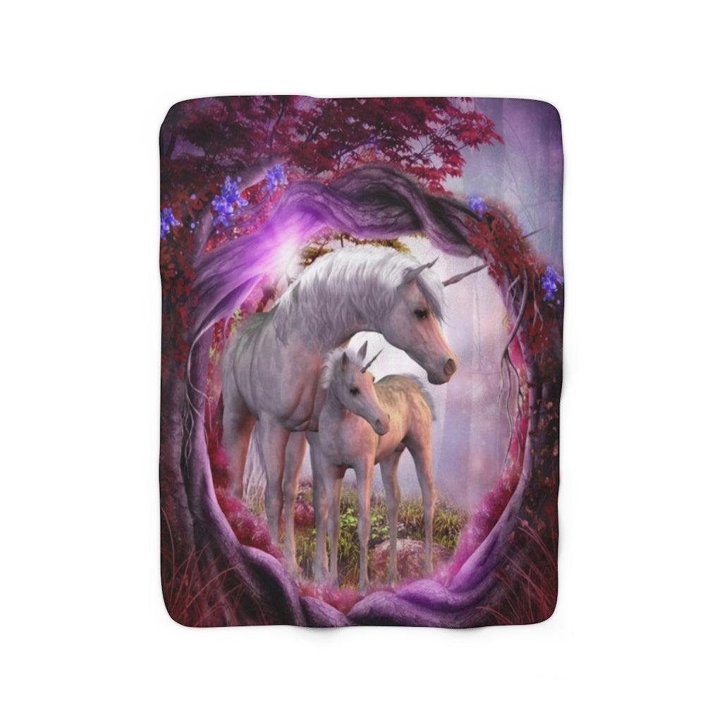 Mom & Daughter Unicorns Sherpa Fleece Blanket