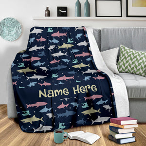 Personalized Name Shark Blanket for Kids