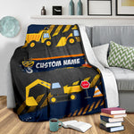 Personalized Name Stop Under Construction Blanket for Boys & Girls, Kids Name Blanket