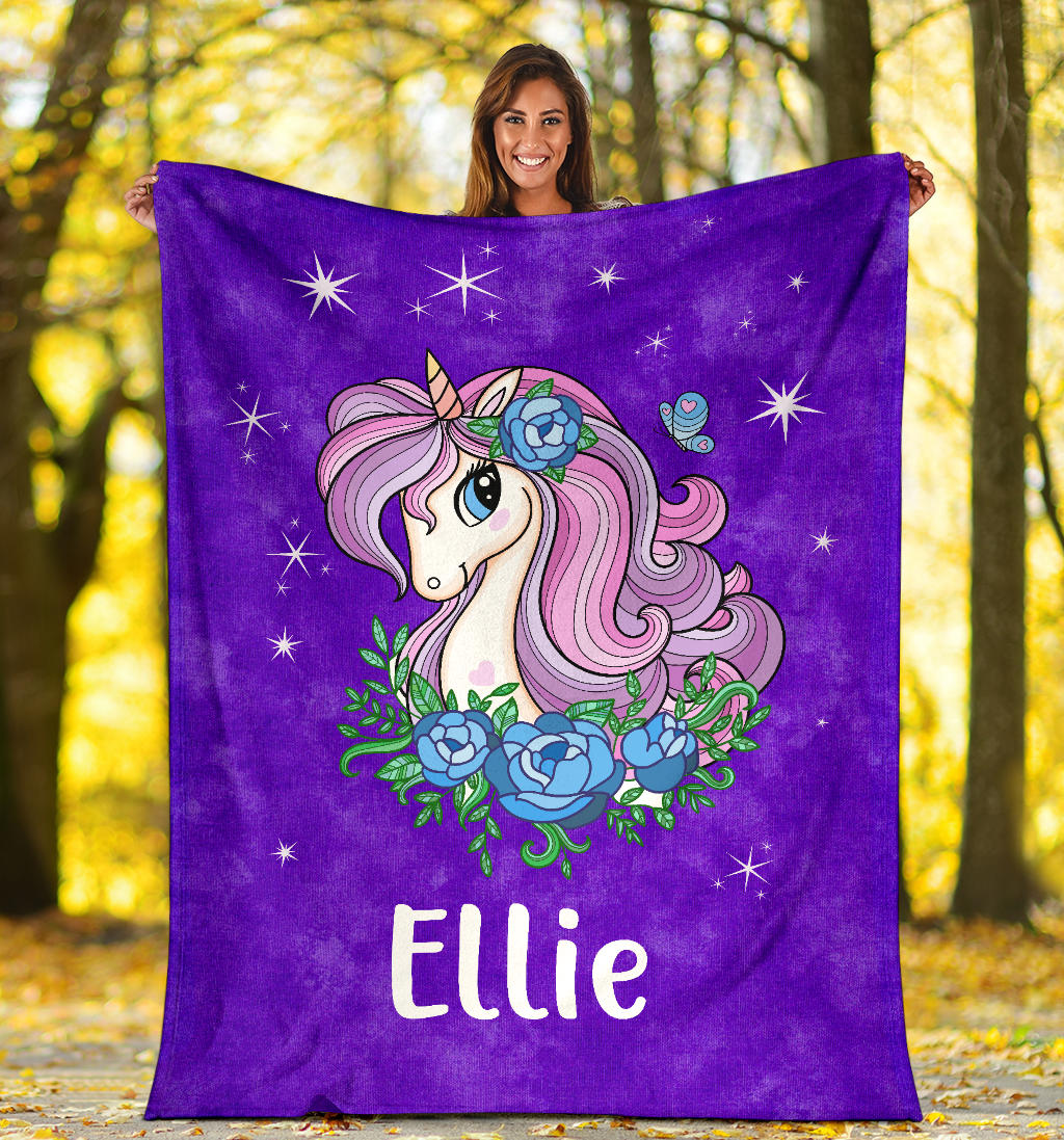 Personalized Name Sparkling Unicorn Purple Blanket for Girls & Babies