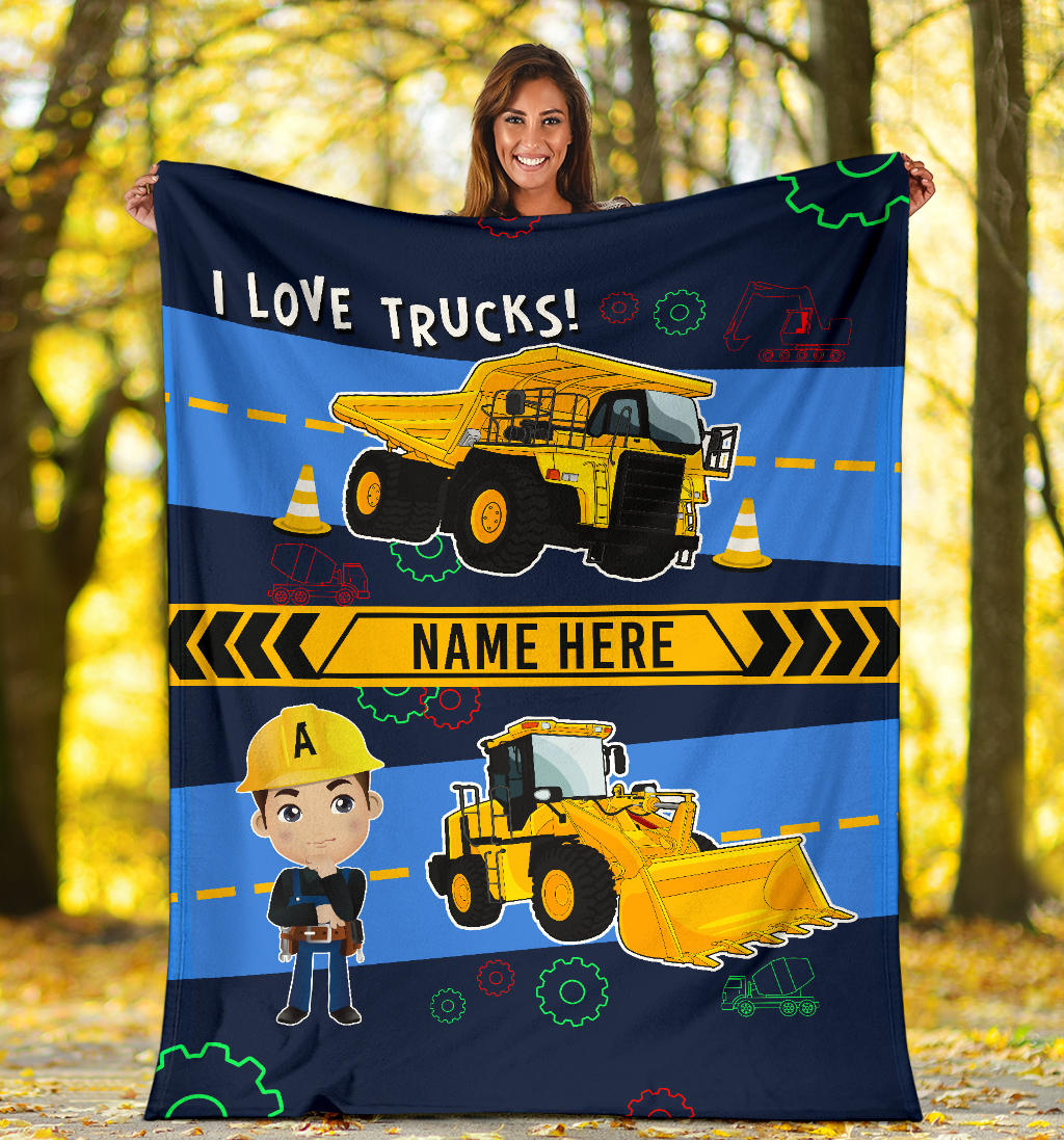 Personalized Name I Love Trucks Blanket for Boys & Girls with Character Personalization