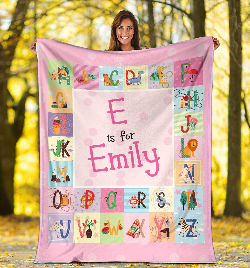 Personalized Name ABC Blanket for Babies & Girls
