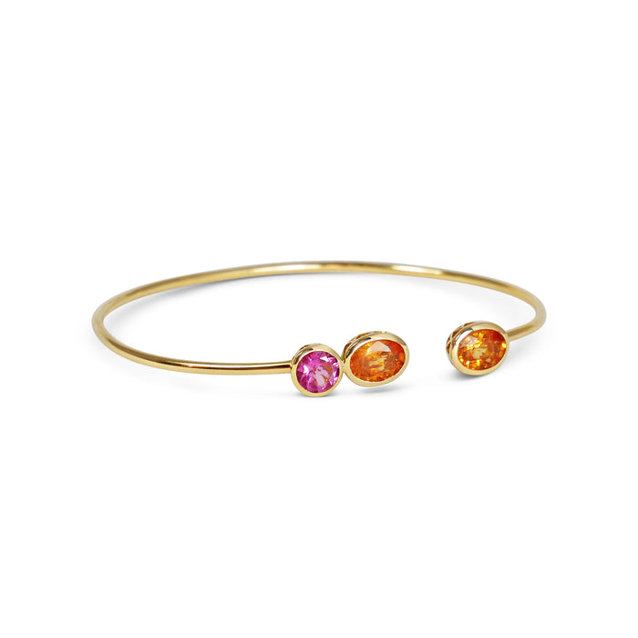 Bracelet Inséparable - Orange Sapphires  & Pink Tourmaline