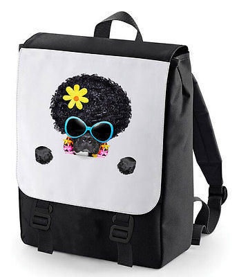 Hippy Afro Hair Dog Backpack Perfect For School Bagbase Sms Together