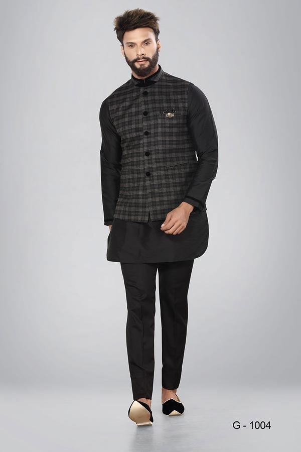 BLACK AND GREY CHECKS WAISTCOAT WITH BLACK KURTA AND BLACK BOTTOM