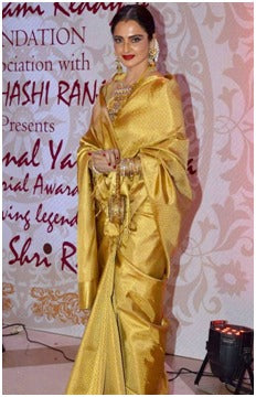 Rekha in Golden  Kanjeevaram
