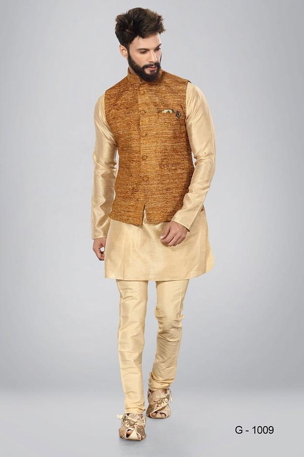 DARK GOLD JUTE WAISTCOAT WITH GOLD KURTA AND CHUDI FOR THE BOTTOM
