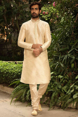 Manyavar Stylish Classic Beige Pista Colored Silk Jacquard Kurta Pajama Set